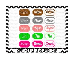 kitchen canister labels flour tea sugar coffee treats