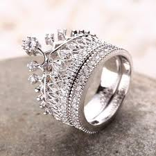 engagement rings set images Crown rhinestone pave women engagement ring set evermarker jpeg