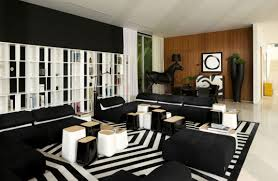 Design House In Miami Cool Black And White House Interior With Striped Area Rug Accent