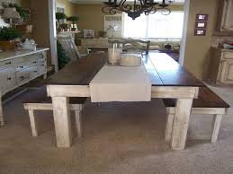 Bench Style Dining Tables Farm Style Dining Table With Bench E Creative