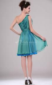 a line one shoulder short mini sky blue velvet chiffon bridesmaid