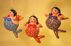 mermaid paper mache ornaments