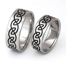 his and hers wedding bands sets celtic titanium his and hers wedding band set with black