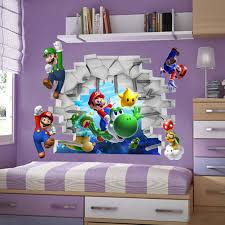 3d view super mario games art kids room decor wall sticker wall