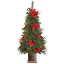 4 ft poinsettia berry pine cone potted artificial