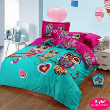 Bed Linen For Girls - 100 cotton kids owl bedding set red rose 3d bedding sets