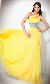 beaded waist full skirt floor length one shoulder elegant yellow