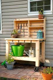 outdoor potting bench free plans best ideas on shed tables