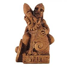 seated tyr norse god of war statue wood finish celtic god