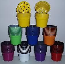 9cm multi coloured plastic plant pots lightweight multicoloured