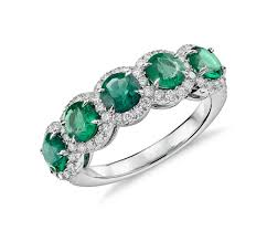 diamond emerald and diamond five stone halo ring in 18k white gold 4 5mm