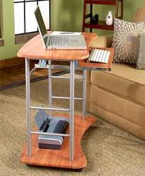 Mobile Computer Desk Portable Compact Laptop Rolling Cart Home