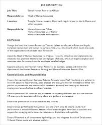 Sample Human Resources Assistant Resume by Human Resources Director Job Description Template Sample