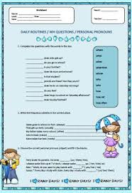 routines wh questions and personal pronouns worksheet