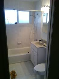 Small Bathtub Minimalist Nathroom With White Tub Surrounding At Brown Ceramic