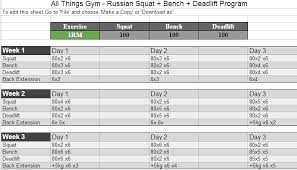 Sheiko Bench Program Russian Squat Routine Spreadsheet Calculator Update Masters