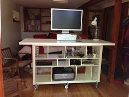 Artistic Wooden Ikea Stand Up Desk With Storage Design In Living