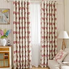 Leaf Design Curtains Thick Polyester Leaf Pattern Wine Color Blackout Thermal Curtains