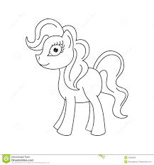 pony with a magnificent mane and tail coloring book page for