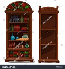 antique white bookcases bookcase vintage books decorative items antique stock vector