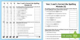 year 3 and 4 correct the spelling mistakes activity sheet pack