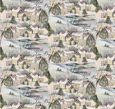 christmas wintervale fabric vintage scenic town susan winget