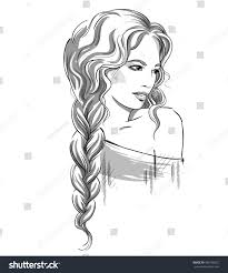 sketch beautiful braid black white stock illustration