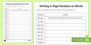place value writing 6 digit numbers in words activity