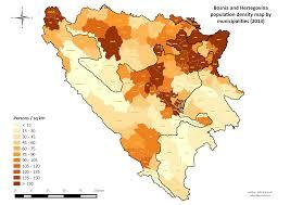 World Population Density Map File Bih Population Density Map 2013 By Municipalities Png