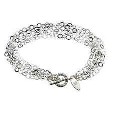 multi chain silver bracelet images Multi strand flat round sterling silver chain toggle jpg