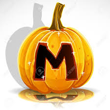 happy halloween font cut out pumpkin letter m royalty free