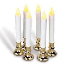 9 inch battery operated candolier set of 6 with gold color base