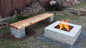 cinder block bench with back design