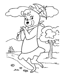 coloring pages of yogi bear yogi bear coloring pages cindy bear with an umbrella free