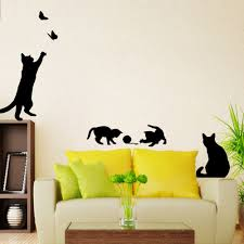 online get cheap wall mural panels aliexpress com alibaba group order 1 piece new arrived black cat cat play wall sticker butterflies stickers decor decals for walls vinyl removable
