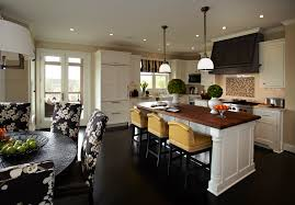 Kitchen With Bar Table - furniture barstools with dark stained wood floor and ceiling
