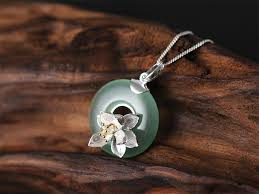 handmade silver charm necklace images Little lotus charm necklace 925 sterling silver handmade jpg