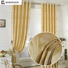 Gold Color Curtains Aubre Jacquard Window Curtains Heavy Fabric High Quality With Gold