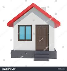 smallhouse small house red roof on white stock illustration 512533945