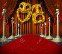 Curtain Drapes Theater Stage With Gold Comedy And Tragedy Symbol On Red Velvet