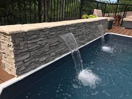diy pool waterfall home exterior ideas diy pool waterfall creative faux panels