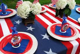 fourth of july decorations entertaining with white and blue