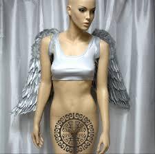 large silver gold rhinestone angel wings cosplay dance costume