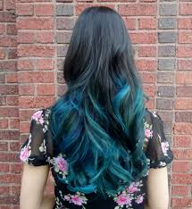 Color Dye For Dark Hair Dark Hair With Teal Dip Dye Hair Colors Ideas