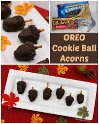 thanksgiving treat acorn oreo cookie balls recipe where imagination grows