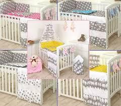 elephant grey yellow stars grey mint pink baby bedding set cot
