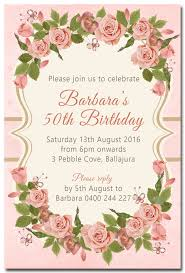 flower floral personalised birthday invitation