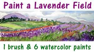 lavender field watercolor beginner landscape tutorial youtube