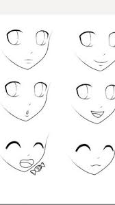 drawn face anime pencil and in color drawn face anime