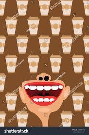 coffee cups open mouth vector concept stock vector 488870173